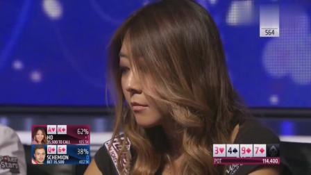 德州扑克:美女AK硬生生被对手吓跑,还不忘挑衅