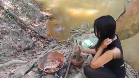 农村美女在小河边上野炊做辣排骨,身材这么好