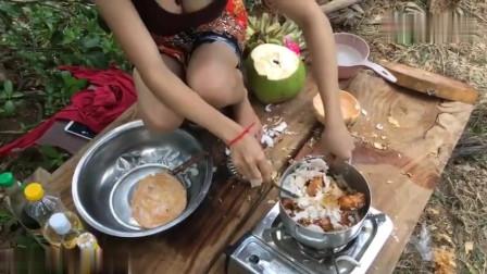 农村美女户外野炊,看了这个视频我才发现:香