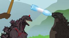 黑色幽默动画,哥斯拉玩猜拳塑料瓶砸头,金刚