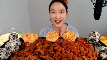韩国美女大胃王吃5人份无骨鸡爪,15分钟全部吃