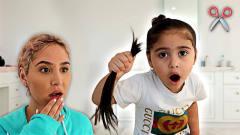 国外5岁熊孩子跟着爸爸学坏,剪掉自己头发恶搞