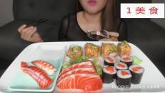美食,ASMR生鱼片和寿司拼盘 美女吃的很优雅