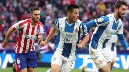 西甲-西班牙人1-3遭马竞逆转,武磊首发险破门莫拉塔传射