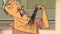 托尼给顾客的头发剪秃后,竟用胸毛接上,搞笑