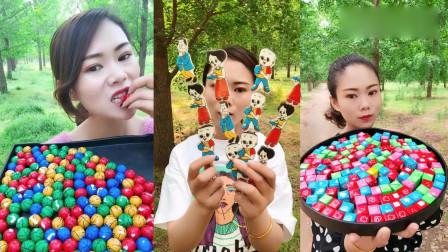 美女直播吃篮球糖、卡通糖、魔方糖,向往的生活