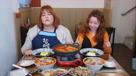 韩国美女秀彬和陌生人一起吃播,满脸不开心,