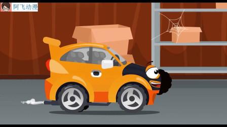 工程车搞笑动画 吊车和卡车帮警车抓小偷
