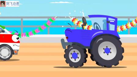 工程车搞笑动画 铲车和救护车海洋冒险