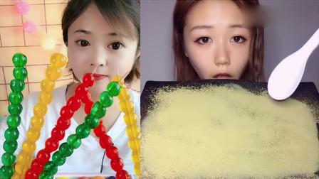 美女试吃:彩色糖葫芦串,你们小时候吃过吗