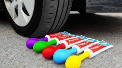 趣味恶搞实验:用小汽车碾压牙膏,请勿轻易模