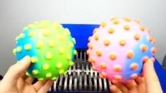 """恶搞实验:将""""水气球""""放入切割机!老婆看见"""