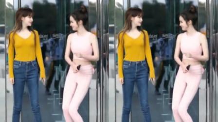 街拍尬舞姐妹花,虽然身材很不错,但是这舞确实很尬