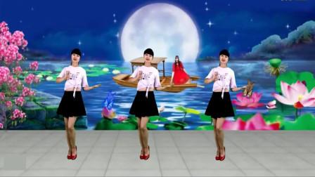 气质美女广场舞《鸟儿对花说》动感情歌,简单