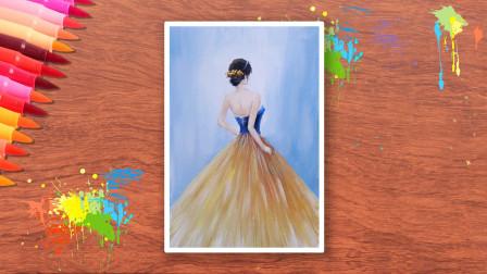 (二)0基础绘画教程,漂亮的美女丙烯画,基础