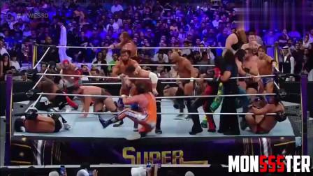 WWE 2019超级ShowDown罕见50人淘汰赛,擂台都快撑不