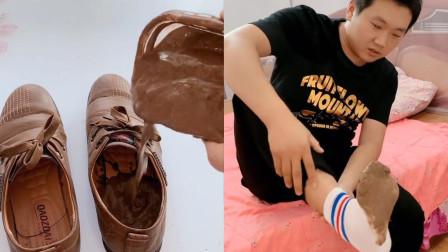 妻子恶搞老公:在老公鞋子里倒满泥巴,得逞后