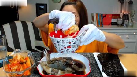 吃播:韩国美女吃货试吃韩式酱油腌蟹,这满满