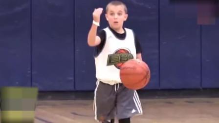 1米34美国小学生打篮球视频,欧洲步,拜佛过人,小小年纪技巧学得真好