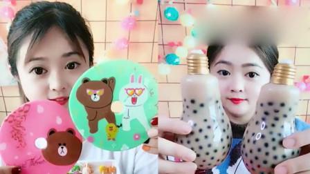 小美女吃播:CD糖果、珍珠*茶,看起来,好玩又