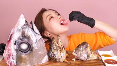 韩国美女竟然吃:生鱼头,大口吃超过瘾,为了