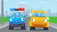 工程车搞笑动画铲车和警车吊车赛跑
