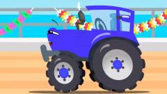 工程车搞笑动画铲车和救护车海洋冒险