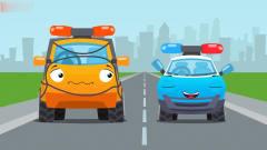 工程车搞笑动画吊车和吉普车寻找甜甜圈
