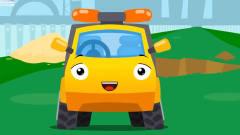 工程车搞笑动画吊车和拖车救援搅拌车