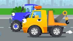 益智工程车:工程车搞笑动画警车和吊车铲车做