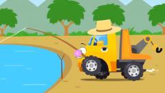 益智工程车:工程车搞笑动画警车和吊车一起抓
