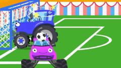 益智工程车:工程车搞笑动画警车和拖拉机的足