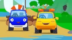 益智工程车:工程车搞笑动画水泥搅拌车和鲨鱼