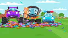 益智工程车:工程车搞笑动画推土机和吉普车寻