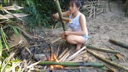 农村美女亲自动手给自己造了张纯手工的竹凳,