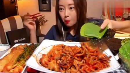 韩国大胃王美女来吃播了,吃辣炒小章鱼,饿得肚子都咕咕叫了