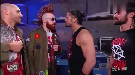 WWE:罗曼和塞斯两人在后台酒吧,希莫斯前来挑