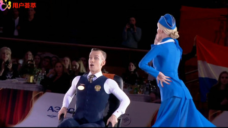 俄罗斯:德米特莱什科夫/阿纳斯塔西亚库尔贝达,在2019年12月26日世界体育舞蹈大赛上,观众掌声不断