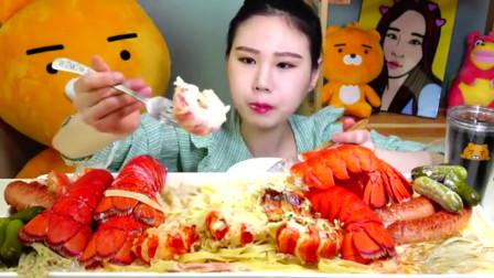 吃播韩国大胃王,美女吃海鲜面,大口吃面的感