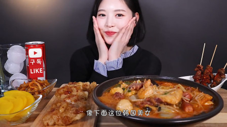 """韩国美女吃播""""中国宽粉"""",一顿饭便爱上了中餐,吃得真馋人!"""