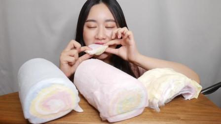 美食吃播大胃王,韩国美女吃大块棉花糖,甜炸