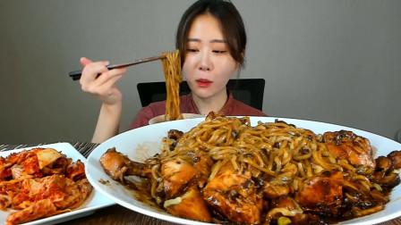 美食吃播大胃王,韩国美女吃鸡肉炸酱面,太美味了