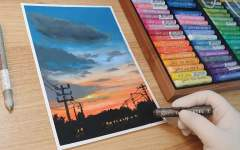 【油画棒】【Goldson】画一幅油画棒晚霞的风景,