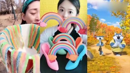 美女吃播:彩虹面条糖、彩虹巧克力,各种口味