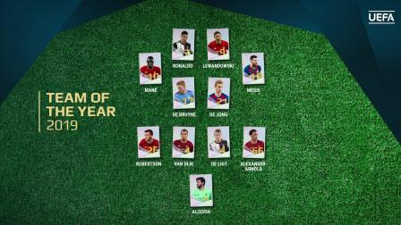 2019欧足联年度最佳阵容:梅西 C罗 马内 莱万四大前锋入选梦幻阵容