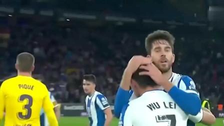 武磊攻破巴萨球门!西甲赛后皮克拍了拍武磊的头到底说了什么?