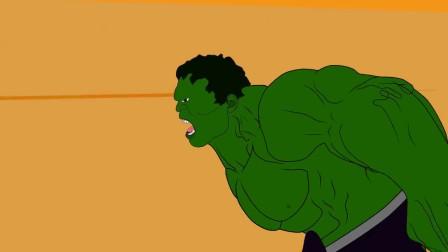 黑色幽默动画,绿巨人大战哥斯拉,赤手空拳打