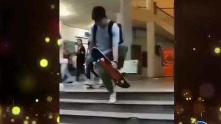 家庭幽默录像:男子飞驰而来,一顿操作猛如虎