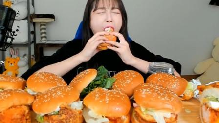 韩国美女做吃播太拼,一口气连吞10个鸡排汉堡,
