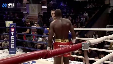 外国壮汉身高马大看着就很厉害,擂台碾压黑人拳王霸气十足